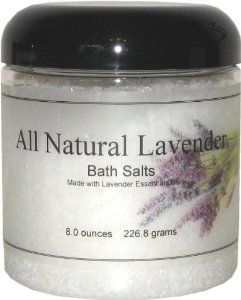 All Natural Bath Salts - Lavender, 8 Ounces by Eclectic Lady. $7.99. 8 Ounces. Dye Free. Preservative Free. Close your eyes and relax in a warm bath with our bath salts. The bath salts come with a scoop for easy measuring. All natural lavender fragrance with lavender essential oil. Lavender is a favorite ingredient in herbal baths of Greeks and Romans.