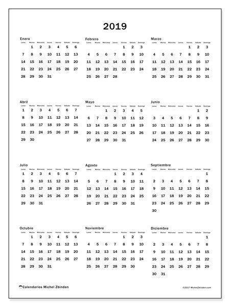 Calendario 2o19.Calendario 2019 Diciembre Planificadores T Bullet