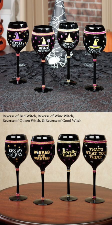 Halloween Witch Wine Glass Set of 4.  Serves up your favorite witch's brew with a little attitude. One each: Carrie, Miranda, Charlotte & Samantha.  Halloween Fashionista Fabulous Witches Theme Party & Decorating Ideas