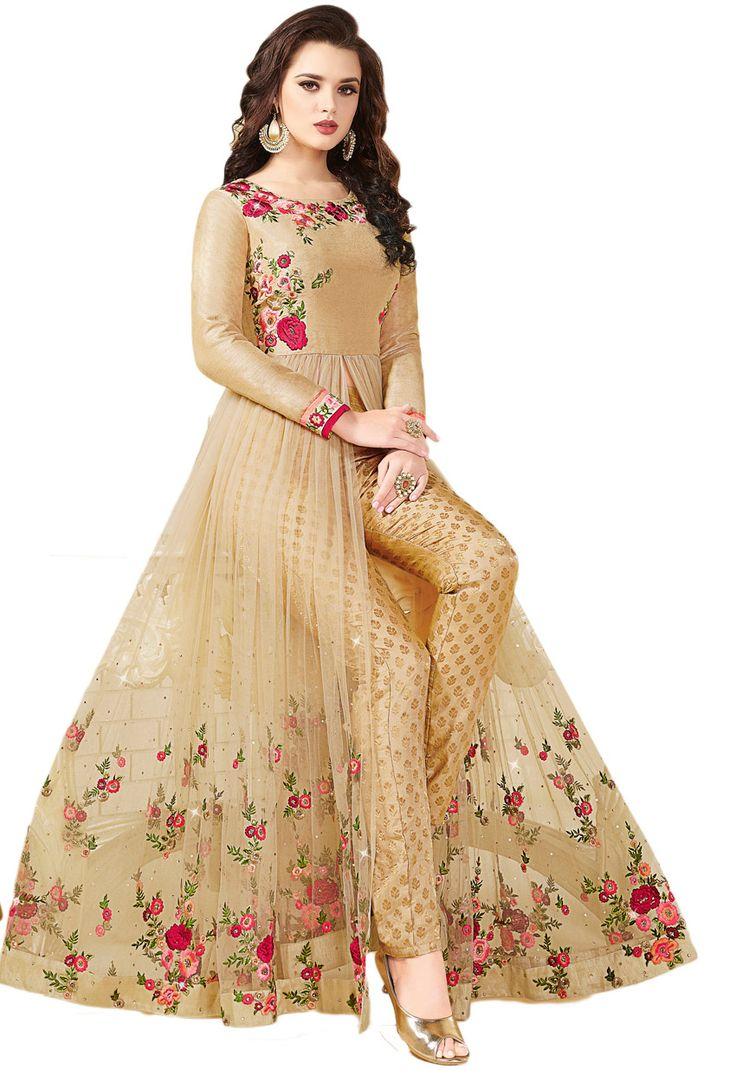 Beige Art Silk,Net Achkan Style Salwar Kameez #Net #netsuits #netsalwarkameez #netsalwarsuit #indianwear #indianethnic #indiandress #dress #designer #Suits #nikvik #usa #designer #australia #canada