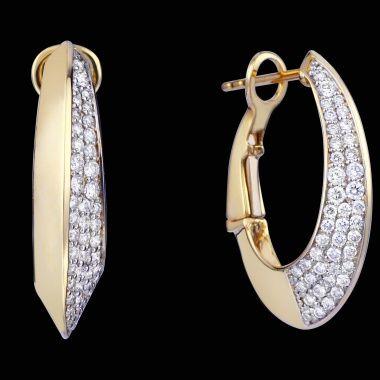 Серьги-кольца из желтого золота с бриллиантами ED MJ-2108E YG