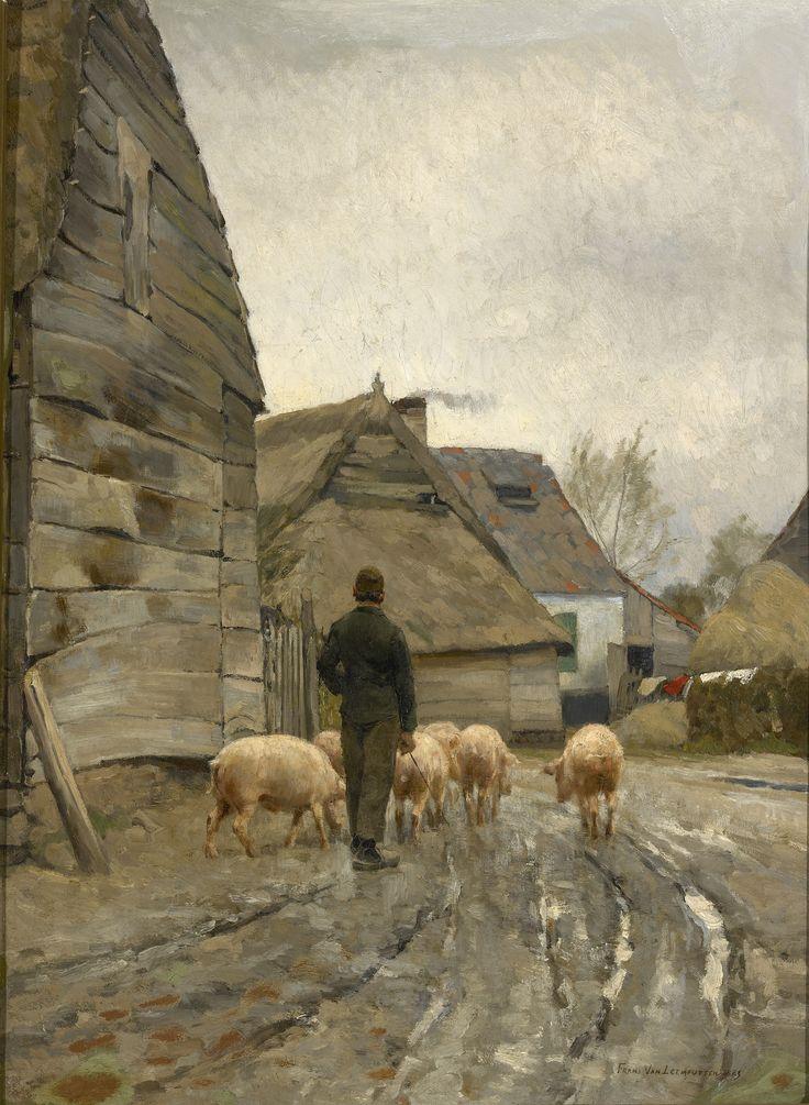 Hoekje van een Vlaams dorp bij regenachtig weer, Frans van Leemputten