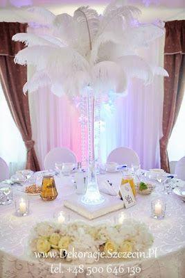 strusie pióra na weselu