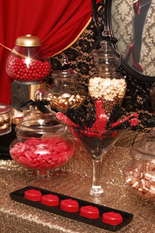 Burlesque Theme  Black lace, gold shimmer and red