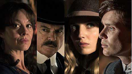 Aunt Polly, inspector Campbell, Grace, and Tommy Shelby of the Peeky blinders.