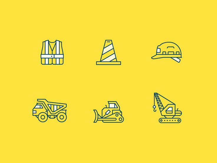 WIP Construction Safety Icons by Marco Boulais for Miles Design