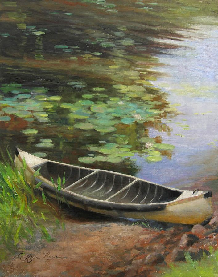 """""""Old Canoe"""" - 14x11"""" - plein air oil painting by Anna Rose Bain from a scene in northern Wisconsin. SOLD"""