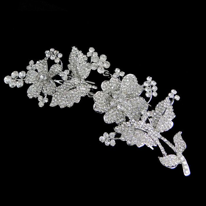 Swarovski Crystal Orchid Flower Hair Comb Vintage by Annamall, $29.99