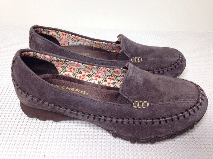 EUC SKECHERS RELAXED FIT Memory Foam Gray Suede Leather Upper Loafers Women Sz 6 #Skechers #LoafersMoccasins #Casual