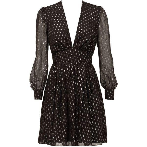 Rental Jill Jill Stuart Midnight Disco Dress (145 BRL) ❤ liked on Polyvore featuring dresses, disco dresses, v neck dress, jill by jill stuart, v-neck dresses and long sleeve v neck dress