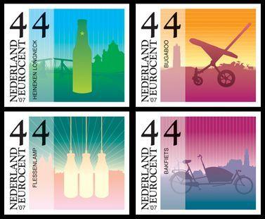 stamps commemmorating nine modern icons of Dutch design