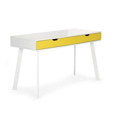 Bureau blanc style scandinave à tiroirs jaunes