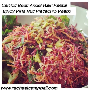 Carrot Beet Angel Hair Pasta with Spicy Pine Nut Pistachio Pesto ...