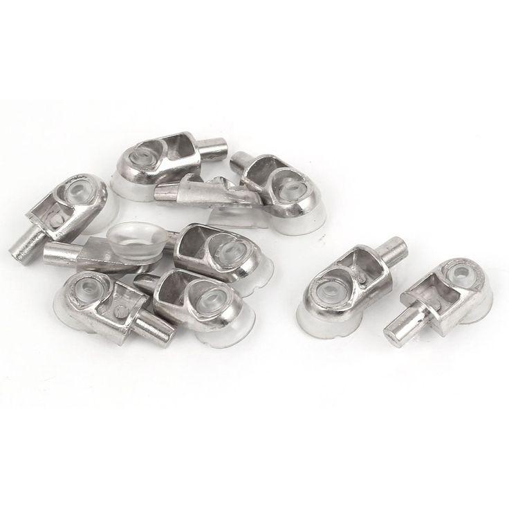 Unique Bargains Furniture Cabinet Glass Suction Cup Plug In Shelf Support Pin 5mm Dia 10pcs, Grey zinc