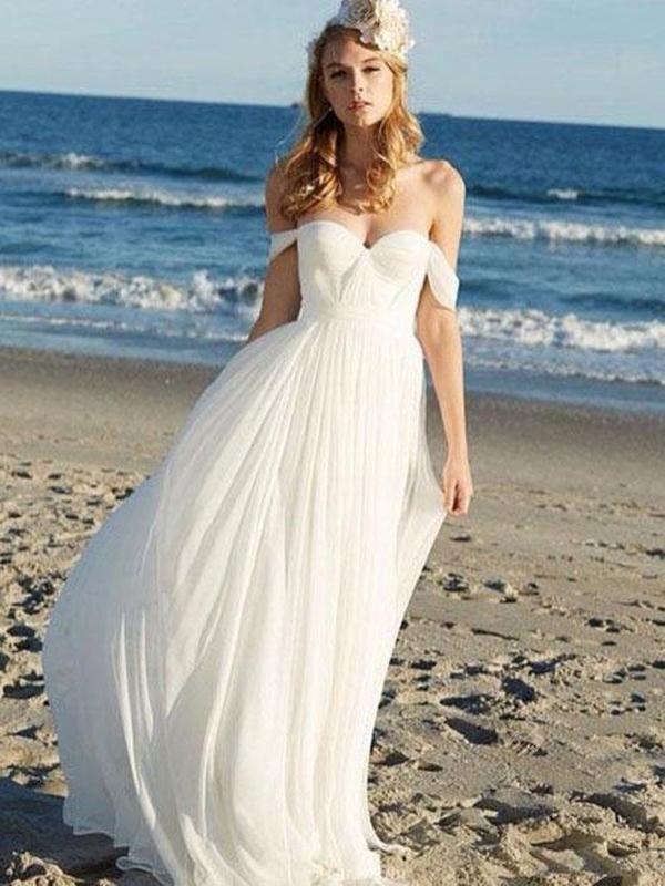 Off Shoulder Unique Casual Cheap Beach Wedding Dresses Wd312 Cheap Beach Wedding Dresses Chiffon Wedding Dress Beach Online Wedding Dress