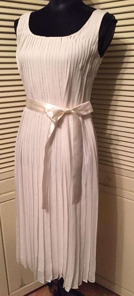 Burberry Brit US 10 Ivory Georgette Silk Linen Pleated Cece Dress NWT #BurberryBrit #Sheath #Versatile