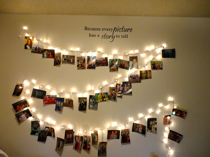 Cute And Easy Way To Dress Up Your Room All You Need Is Pictures Christmas  Lights And Paperclips Or Clothespins The Wall Decal Above It Is J