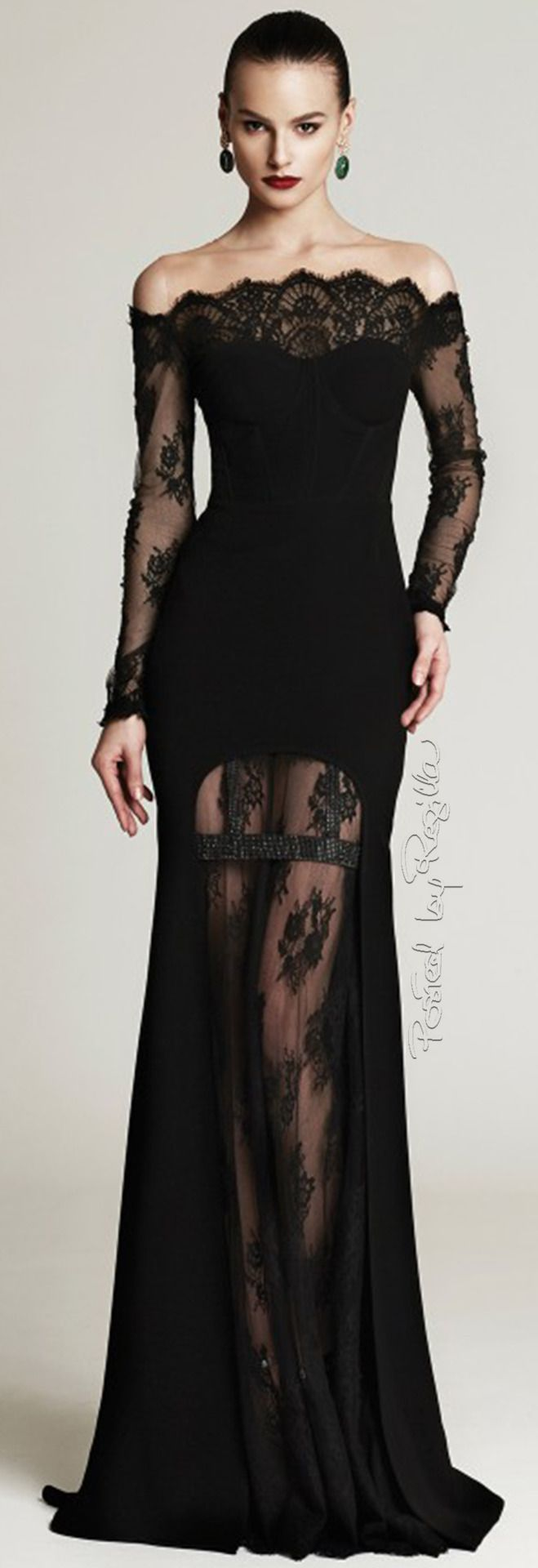Long black lace dress pinterest yellow