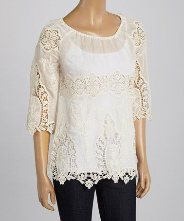 Natural Lace Peasant Top by Simply Irresistible #zulily #zulilyfinds