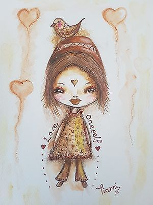 Brown and yellow whimsical girl. Original painting. mixed media whimsy painting