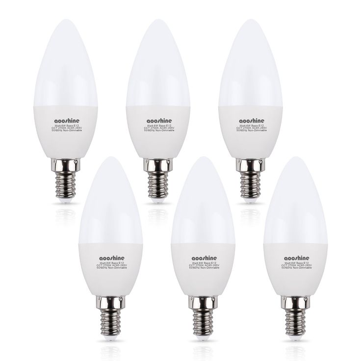 E12 LED Bulb 60 Watts, Aooshine 6 Watt LED Candelabra Bulb, Warm White 2700K Decorative LED Candle Bulbs for Chandelier Non-Dimmable(Pack of 6)