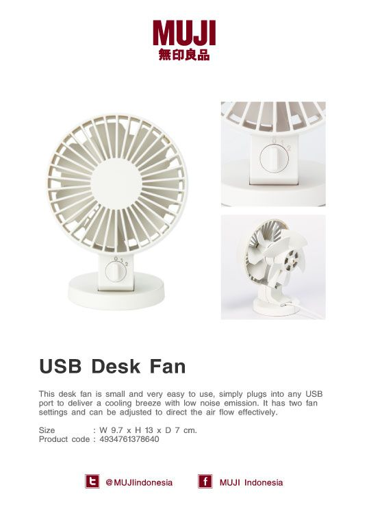 [USB Desk Fan] simply plugs into any USB port to deliver a cooling breeze with low noise emission.