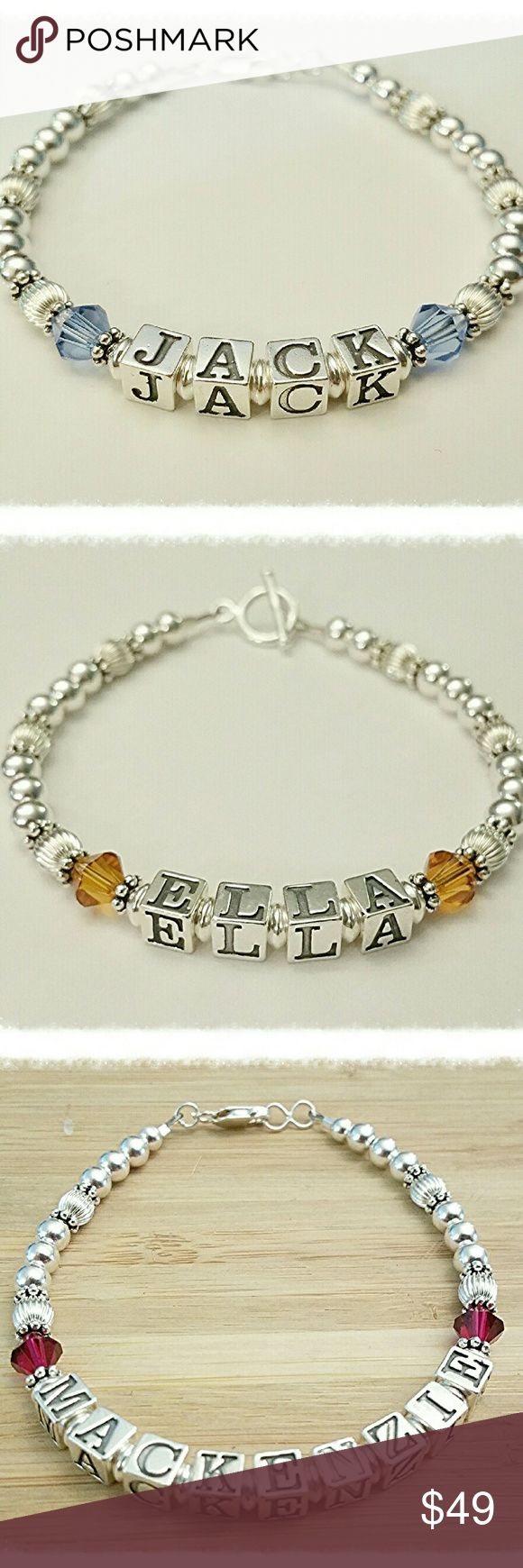 Sterling Silver Beaded Name Bracelet Personalized Sterling Silver Beaded Name Bracelet  Personalize your bracelet with any Name one a single strand beaded bracelet.  Sterling Silver Letter Block Beads, spacer beads & clasp. Swarovski Crystal Birthstone Beads - see picture for available color choices.  Up to 8 Letter Beads are included in this bracelet. Jewelry Bracelets