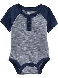 Short-Sleeved Henley Bodysuits for Baby - just like daddy, lol