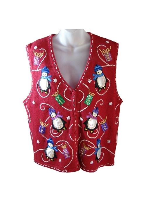 Shiny Penguins Vest | Tacky & Ugly Christmas Sweaters For Sale | Real Ugly Christmas Sweaters