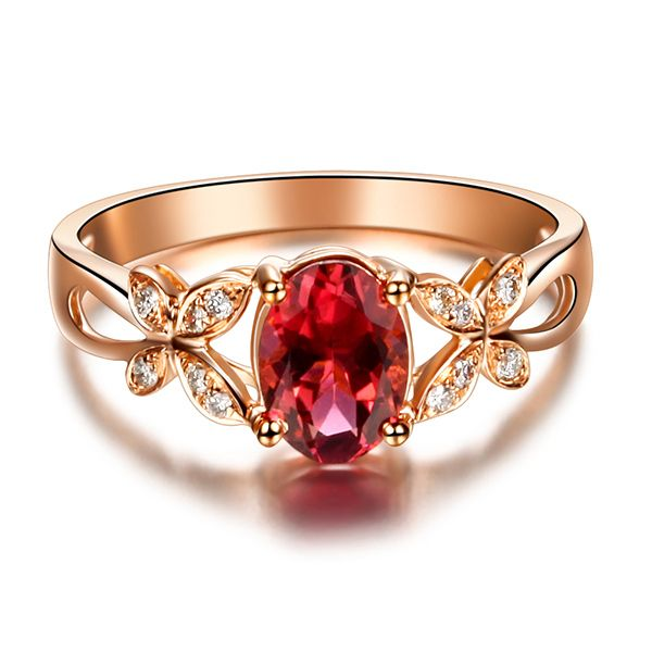 Luxury High Quality Real 0.7ct Tourmaline Ring 18K Rose Gold. Designed tourmaline diamond ring has been meticulously crafted to perfection.