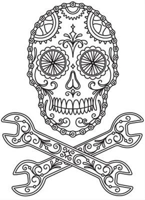 Sugar Skull Coloring with Wrenches (Saved to Computer)