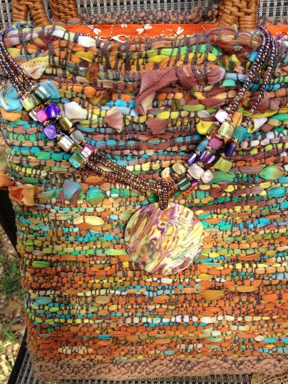 Handwoven Saori style purse with woven cane par moonbeamweaver, $225.00
