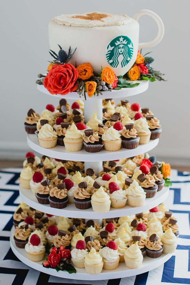 For all of you Starbucks lovers. This coffee inspired cake/cupcake tower is for you. CreditsPhotographers: Dana and Nicola SweeneyCakes & Catering: Sweet Rae's