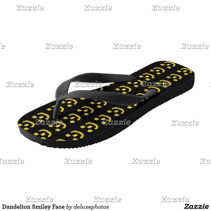 Dandelion Smiley Face Flip Flops