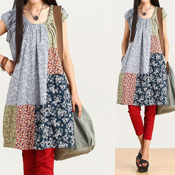 Loose Fitting Cotton Shirt Blouse Dress