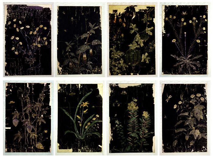 (Korea) 초충도 Embroidery Folding screens by Shinsaimdang. 65×40vm. Donga University of Korea. Treasures No. 595.