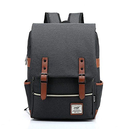ZDTech Casual Vintage Backpack Canvas Laptop Computer Bag College School Backpack Shoulders Bag Ourdoor Weekend Travel Daypack (Black)