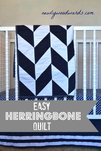 Make a simple graphic herringbone quilt from half-square triangle. #quilting
