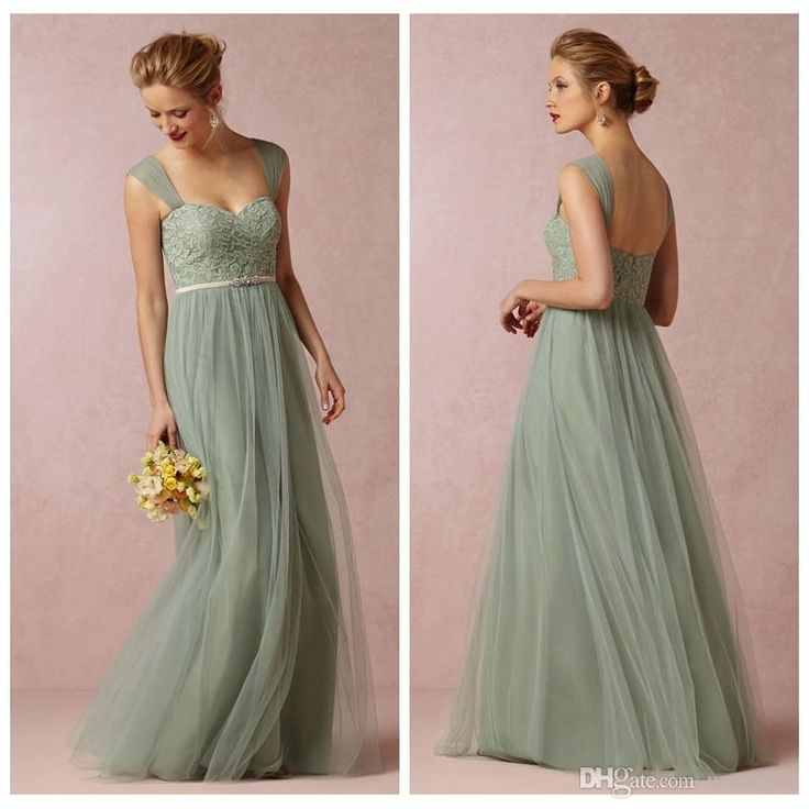Wholesale Bridesmaid Dress - Buy Sage Convertible Dress Bridesmaid Dress Green Tulle Removable Strap Long Sweetheart Formal Dresses Cheap 2014 BHLDN Wedding Party Dresses, $87.53 | DHgate