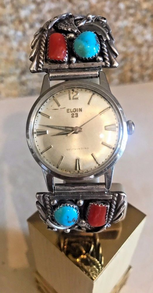 "Vintage Estate Turquoise, Coral and Sterling Silver Eagle Watch Band Signed ""LH"" #LH #Band"