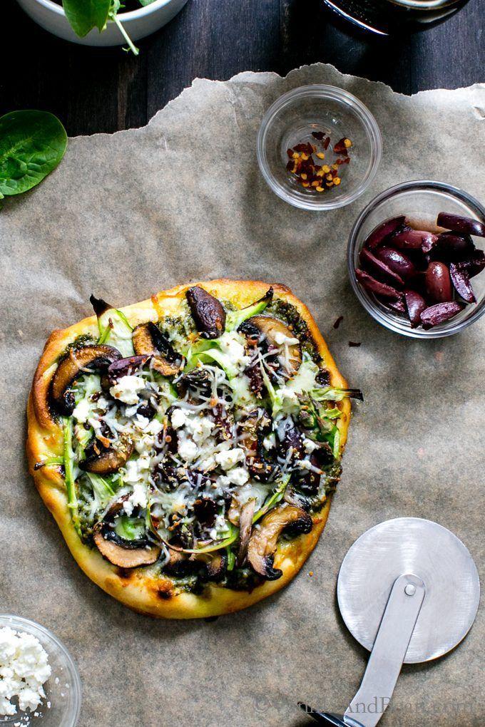 Flatbread Salad Pizza with Pesto, Shaved Asparagus, Mushrooms and Feta : vanillaandbean