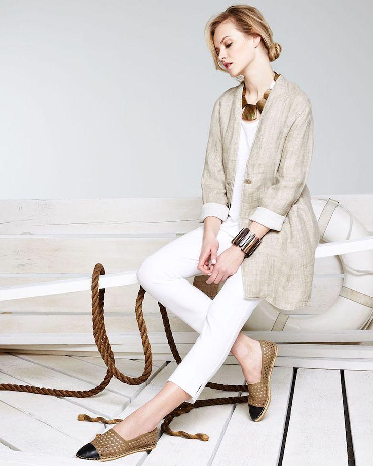Eileen Fisher Organic Linen One-Button Coat