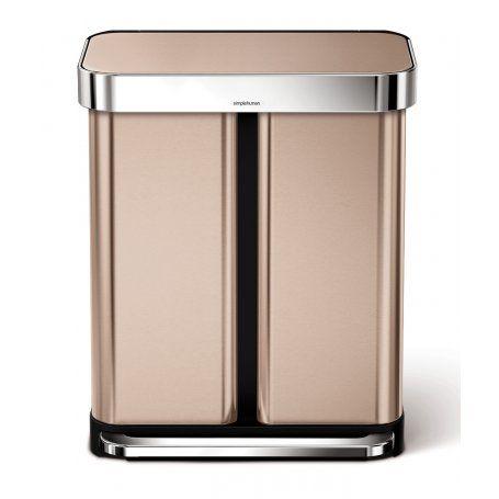 Simplehuman Dual Recycling Bin - Rose Gold - 58L - Binopolis