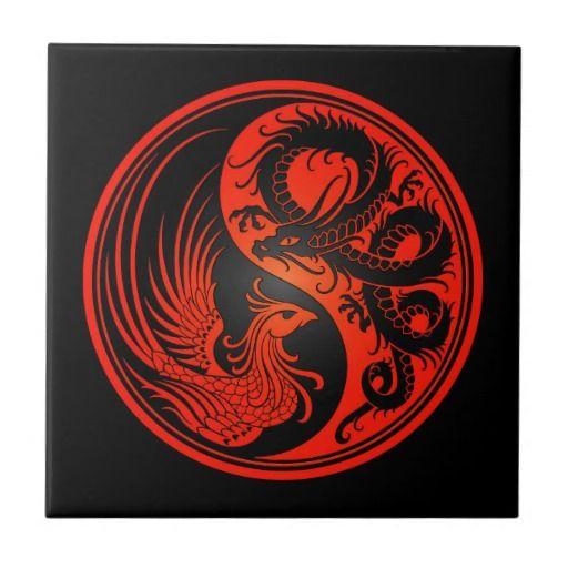 Red and Black Dragon Phoenix Yin Yang Ceramic Tile