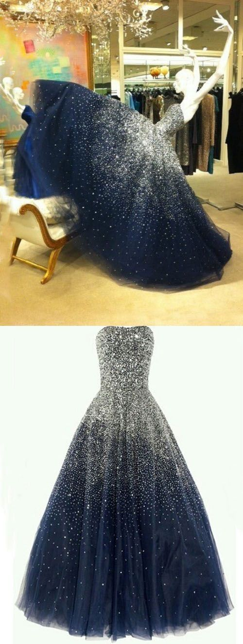 Best Ball Gown Strapless Floor Length Tulle Navy Blue Prom/Evening Dress with Beading