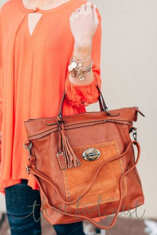 Ready to Go Tassel Leather Tote by Three Bird Nest   Bohemian Clothing