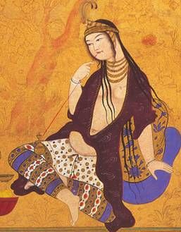 "Persian miniature entitled :Persian Girl Smoking""  I used this as inspiration for an award scroll for my WonderTwin's AOA!"