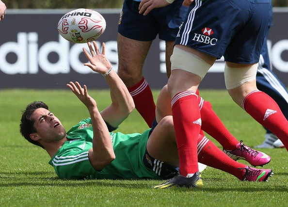 Sean Maitland passes the ball during the British and Irish Lions training session at the Vale of Glamorgan on May 15, 2013 in Hensol, Wales.