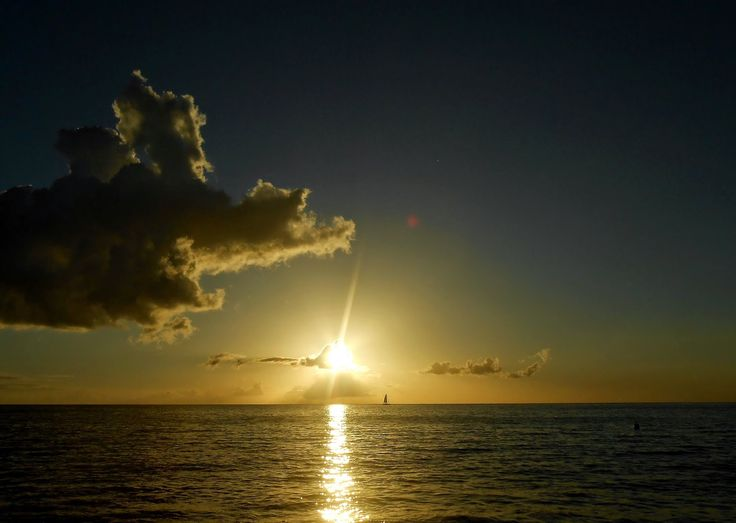 couché de soleil Bouillante, plage Absalon