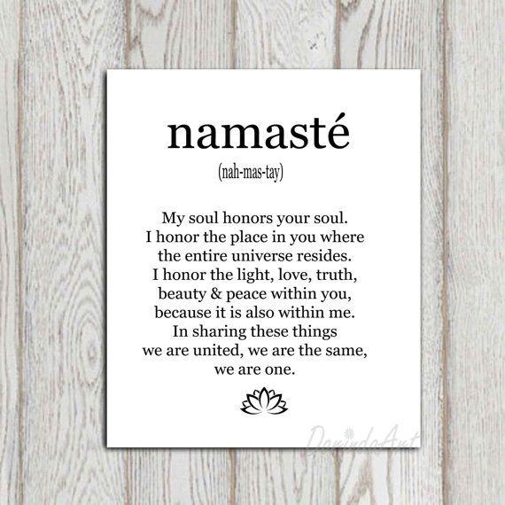 Namaste print Large 3 sizes Yoga studio decor Inspirational printable Black white typography art poster Minimalist artwork INSTANT DOWNLOAD